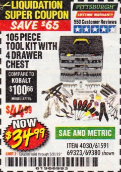 Harbor Freight Coupon 105 PIECE TOOL KIT WITH 4-DRAWER CHEST Lot No. 4030/69323/69380/61591 EXPIRES: 5/31/19 - $34.99