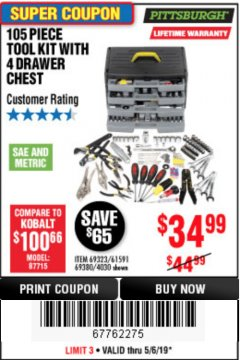 Harbor Freight Coupon 105 PIECE TOOL KIT WITH 4-DRAWER CHEST Lot No. 4030/69323/69380/61591 Expired: 5/6/19 - $34.99