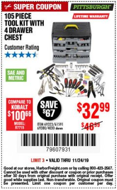 Harbor Freight Coupon 105 PIECE TOOL KIT WITH 4-DRAWER CHEST Lot No. 4030/69323/69380/61591 Expired: 11/24/19 - $32.99