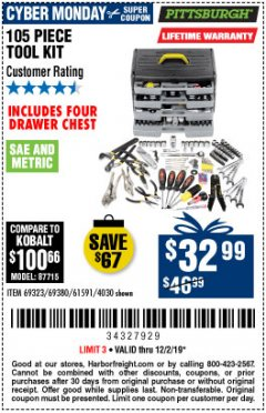 Harbor Freight Coupon 105 PIECE TOOL KIT WITH 4-DRAWER CHEST Lot No. 4030/69323/69380/61591 Expired: 12/2/19 - $32.99