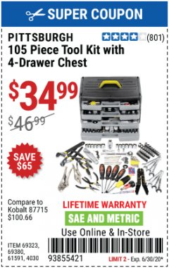 Harbor Freight Coupon 105 PIECE TOOL KIT WITH 4-DRAWER CHEST Lot No. 4030/69323/69380/61591 EXPIRES: 6/30/20 - $34.99