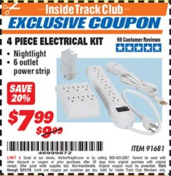 Harbor Freight ITC Coupon 4 PIECE ELECTRICAL KIT Lot No. 91681 Dates Valid: 12/31/69 - 5/31/19 - $7.99