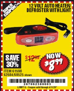Harbor Freight Coupon 12 VOLT AUTO HEATER/DEFROSTER WITH LIGHT Lot No. 61598/60525/96144 EXPIRES: 6/30/20 - $8.99
