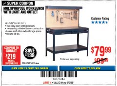 Harbor Freight Coupon MULTIPURPOSE WORKBENCH WITH LIGHTING AND OUTLET Lot No. 62563/60723/99681 Expired: 9/2/18 - $79.99