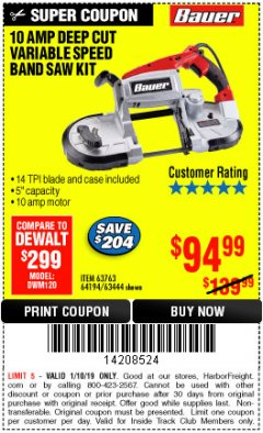 Harbor Freight ITC Coupon 10 AMP DEEP CUT VARIABLE SPEED BAND SAW KIT Lot No. 63763/64194/63444 Expired: 1/10/19 - $94.99