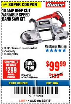 Harbor Freight Coupon 10 AMP DEEP CUT VARIABLE SPEED BAND SAW KIT Lot No. 63763/64194/63444 Expired: 5/20/18 - $99.99