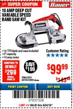 Harbor Freight Coupon 10 AMP DEEP CUT VARIABLE SPEED BAND SAW KIT Lot No. 63763/64194/63444 Expired: 6/24/18 - $99.99