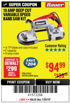 Harbor Freight Coupon 10 AMP DEEP CUT VARIABLE SPEED BAND SAW KIT Lot No. 63763/64194/63444 Expired: 1/20/19 - $94.99