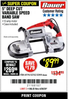 Harbor Freight Coupon BAUER 10 AMP DEEP CUT VARIABLE SPEED BAND SAW KIT Lot No. 63763/64194/63444 EXPIRES: 6/30/20 - $89.99