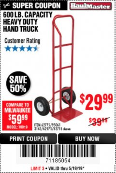 Harbor Freight Coupon HEAVY DUTY HAND TRUCK Lot No. 62775/62776/62973/95061 EXPIRES: 5/19/19 - $29.99