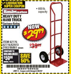 Harbor Freight Coupon HEAVY DUTY HAND TRUCK Lot No. 62775/3163/62776/62973/95061 EXPIRES: 6/30/20 - $29.99