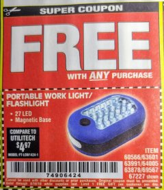 Harbor Freight FREE Coupon LED PORTABLE WORKLIGHT/FLASHLIGHT Lot No. 63878/63991/64005/69567/60566/63601/67227 Expired: 8/18/18 - FWP