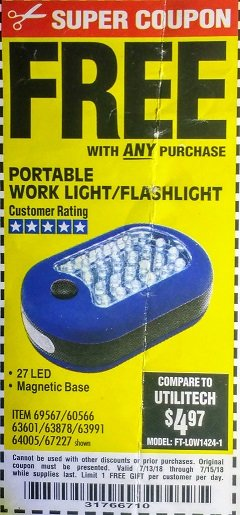 Harbor Freight FREE Coupon LED PORTABLE WORKLIGHT/FLASHLIGHT Lot No. 63878/63991/64005/69567/60566/63601/67227 Expired: 7/15/18 - FWP
