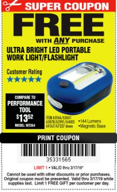 Harbor Freight FREE Coupon LED PORTABLE WORKLIGHT/FLASHLIGHT Lot No. 63878/63991/64005/69567/60566/63601/67227 Expired: 3/17/19 - FWP