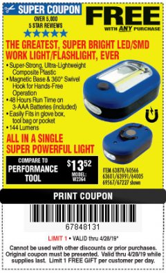 Harbor Freight FREE Coupon LED PORTABLE WORKLIGHT/FLASHLIGHT Lot No. 63878/63991/64005/69567/60566/63601/67227 Expired: 4/28/19 - FWP