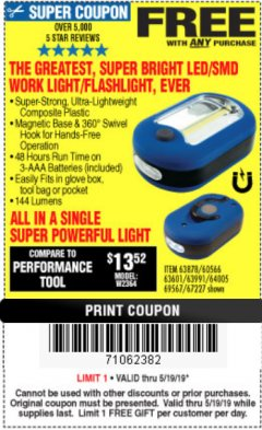 Harbor Freight FREE Coupon LED PORTABLE WORKLIGHT/FLASHLIGHT Lot No. 63878/63991/64005/69567/60566/63601/67227 Expired: 5/19/19 - FWP