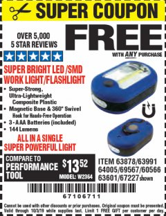 Harbor Freight FREE Coupon LED PORTABLE WORKLIGHT/FLASHLIGHT Lot No. 63878/63991/64005/69567/60566/63601/67227 Valid Thru: 10/3/19 - FWP