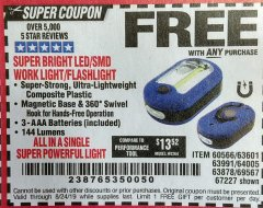Harbor Freight FREE Coupon LED PORTABLE WORKLIGHT/FLASHLIGHT Lot No. 63878/63991/64005/69567/60566/63601/67227 Expired: 8/24/19 - FWP