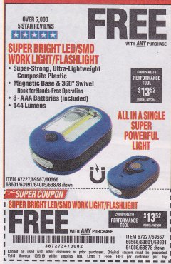Harbor Freight FREE Coupon LED PORTABLE WORKLIGHT/FLASHLIGHT Lot No. 63878/63991/64005/69567/60566/63601/67227 Valid Thru: 10/9/19 - FWP