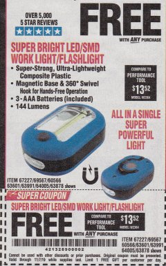 Harbor Freight FREE Coupon LED PORTABLE WORKLIGHT/FLASHLIGHT Lot No. 63878/63991/64005/69567/60566/63601/67227 Valid Thru: 11/7/19 - FWP