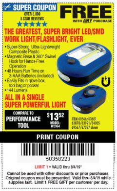 Harbor Freight FREE Coupon LED PORTABLE WORKLIGHT/FLASHLIGHT Lot No. 63878/63991/64005/69567/60566/63601/67227 Expired: 8/4/19 - FWP