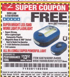 Harbor Freight FREE Coupon LED PORTABLE WORKLIGHT/FLASHLIGHT Lot No. 63878/63991/64005/69567/60566/63601/67227 Valid Thru: 12/13/19 - FWP