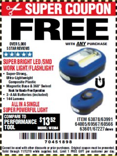Harbor Freight FREE Coupon LED PORTABLE WORKLIGHT/FLASHLIGHT Lot No. 63878/63991/64005/69567/60566/63601/67227 Valid Thru: 11/12/19 - FWP