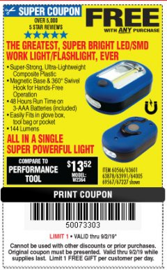 Harbor Freight FREE Coupon LED PORTABLE WORKLIGHT/FLASHLIGHT Lot No. 63878/63991/64005/69567/60566/63601/67227 Expired: 9/2/19 - FWP
