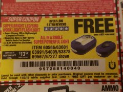 Harbor Freight FREE Coupon LED PORTABLE WORKLIGHT/FLASHLIGHT Lot No. 63878/63991/64005/69567/60566/63601/67227 Valid Thru: 11/2/19 - FWP