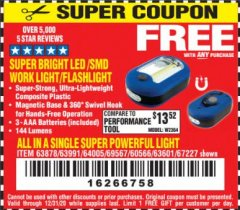 Harbor Freight FREE Coupon LED PORTABLE WORKLIGHT/FLASHLIGHT Lot No. 63878/63991/64005/69567/60566/63601/67227 Valid Thru: 12/31/20 - FWP