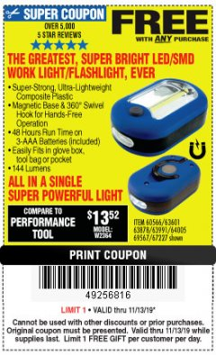 Harbor Freight FREE Coupon LED PORTABLE WORKLIGHT/FLASHLIGHT Lot No. 63878/63991/64005/69567/60566/63601/67227 Valid Thru: 11/13/19 - FWP