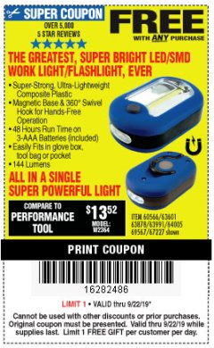 Harbor Freight FREE Coupon LED PORTABLE WORKLIGHT/FLASHLIGHT Lot No. 63878/63991/64005/69567/60566/63601/67227 Expired: 9/22/19 - FWP