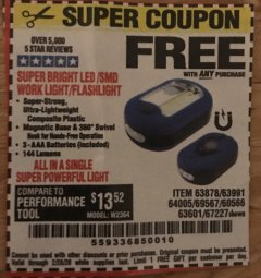 Harbor Freight FREE Coupon LED PORTABLE WORKLIGHT/FLASHLIGHT Lot No. 63878/63991/64005/69567/60566/63601/67227 Expired: 2/28/20 - FWP