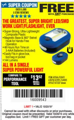 Harbor Freight FREE Coupon LED PORTABLE WORKLIGHT/FLASHLIGHT Lot No. 63878/63991/64005/69567/60566/63601/67227 Expired: 10/20/19 - FWP