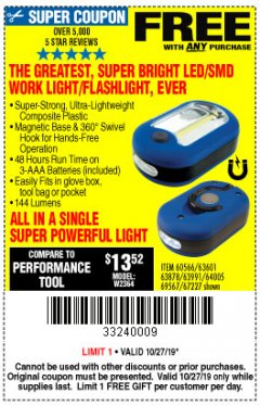 Harbor Freight FREE Coupon LED PORTABLE WORKLIGHT/FLASHLIGHT Lot No. 63878/63991/64005/69567/60566/63601/67227 Expired: 10/27/19 - FWP