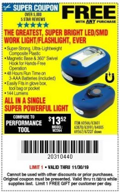 Harbor Freight FREE Coupon LED PORTABLE WORKLIGHT/FLASHLIGHT Lot No. 63878/63991/64005/69567/60566/63601/67227 Expired: 11/30/19 - FWP