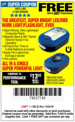 Harbor Freight FREE Coupon LED PORTABLE WORKLIGHT/FLASHLIGHT Lot No. 63878/63991/64005/69567/60566/63601/67227 Expired: 11/24/19 - FWP