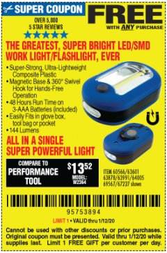 Harbor Freight FREE Coupon LED PORTABLE WORKLIGHT/FLASHLIGHT Lot No. 63878/63991/64005/69567/60566/63601/67227 Expired: 1/12/20 - FWP