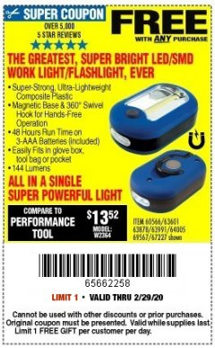 Harbor Freight FREE Coupon LED PORTABLE WORKLIGHT/FLASHLIGHT Lot No. 63878/63991/64005/69567/60566/63601/67227 Expired: 2/29/20 - FWP