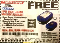 Harbor Freight FREE Coupon LED PORTABLE WORKLIGHT/FLASHLIGHT Lot No. 63878/63991/64005/69567/60566/63601/67227 Expired: 3/26/20 - FWP