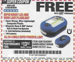 Harbor Freight FREE Coupon LED PORTABLE WORKLIGHT/FLASHLIGHT Lot No. 63878/63991/64005/69567/60566/63601/67227 Expired: 3/12/20 - FWP
