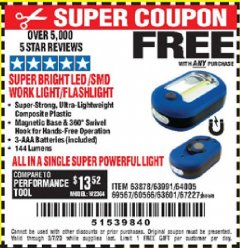 Harbor Freight FREE Coupon LED PORTABLE WORKLIGHT/FLASHLIGHT Lot No. 63878/63991/64005/69567/60566/63601/67227 Expired: 3/7/20 - FWP