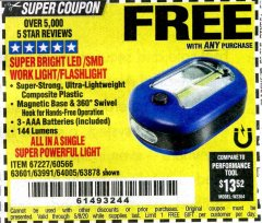 Harbor Freight FREE Coupon LED PORTABLE WORKLIGHT/FLASHLIGHT Lot No. 63878/63991/64005/69567/60566/63601/67227 Expired: 5/8/20 - FWP