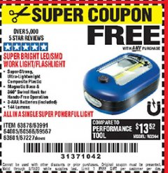 Harbor Freight FREE Coupon LED PORTABLE WORKLIGHT/FLASHLIGHT Lot No. 63878/63991/64005/69567/60566/63601/67227 Expired: 5/17/20 - FWP