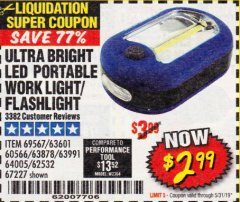 Harbor Freight Coupon LED PORTABLE WORKLIGHT/FLASHLIGHT Lot No. 63878/63991/64005/69567/60566/63601/67227 Expired: 5/31/19 - $2.99