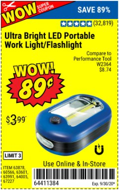 Harbor Freight Coupon LED PORTABLE WORKLIGHT/FLASHLIGHT Lot No. 63878/63991/64005/69567/60566/63601/67227 Expired: 9/30/20 - $0.89