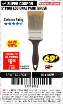 "Harbor Freight ITC Coupon 2"" PROFESSIONAL PAINT BRUSH Lot No. 62676/39687 Expired: 1/10/19 - $0.69"