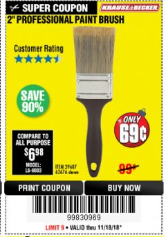 "Harbor Freight Coupon 2"" PROFESSIONAL PAINT BRUSH Lot No. 62676/39687 Expired: 11/30/18 - $0.69"