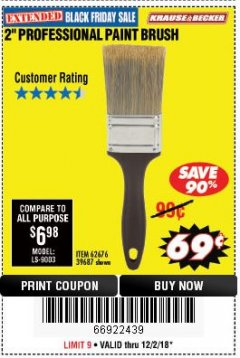 "Harbor Freight Coupon 2"" PROFESSIONAL PAINT BRUSH Lot No. 62676/39687 Expired: 12/2/18 - $0.69"