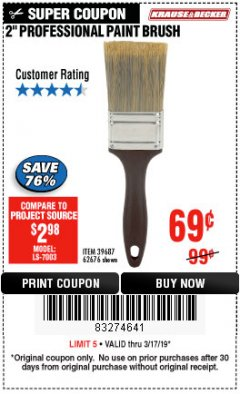 "Harbor Freight Coupon 2"" PROFESSIONAL PAINT BRUSH Lot No. 62676/39687 Expired: 3/17/19 - $0.69"